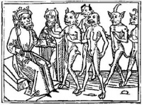 A woodcarving of Belial and some of his followers from Jacobus de Teramo's book Buche Belial (1473 EV)